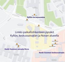 Kartta keskussairaalan, Novan ja Kyllön pysäkeistä