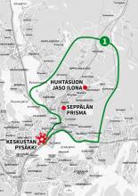 Linkki-VIP auton 1 alue karttana